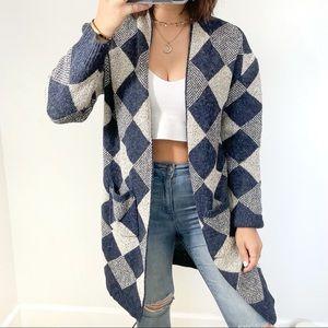 Blue and cream diamond knit cardigan sweater